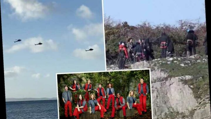 I'm A Celeb stars fly over Gwrych castle in helicopters before terrifying abseil challenge