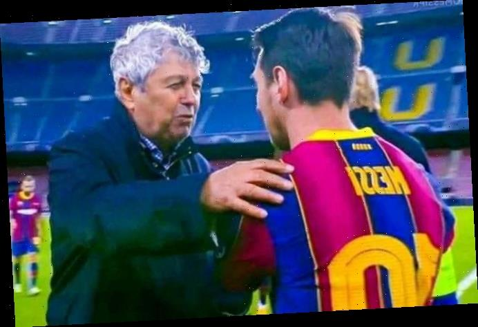 Moment Dynamo Kiev manager 'asks Lionel Messi for his shirt' after losing to Barcelona in Champions League