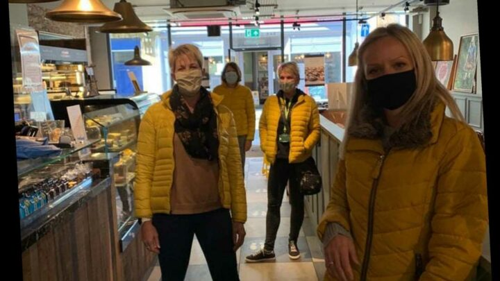 Four women rock up for coffee in the same Zara yellow puffa jacket… so is it the 2020 version of THAT polka dot dress?