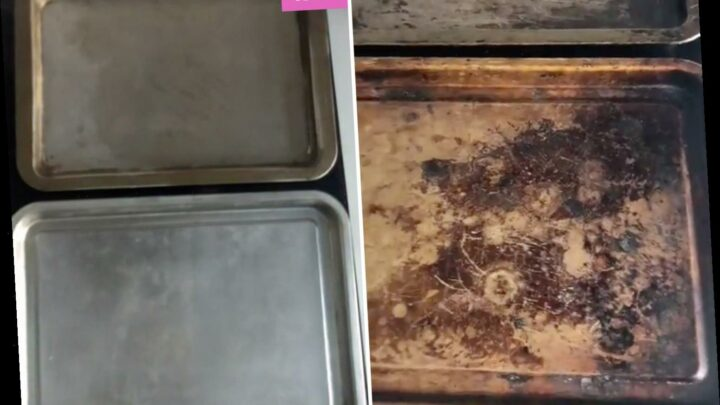 Bloke uses two cheap household items to get his filthy baking trays SO clean he reckons he can 'see my face' in them