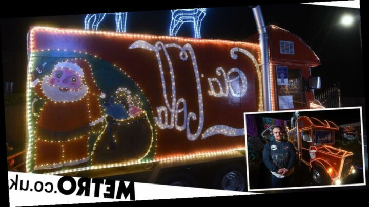 Man creates a 30,000-bulb Coca Cola truck in his garden to cheer up neighbours