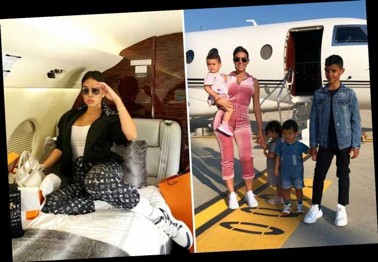 Georgina Rodriguez flies to Madrid on Cristiano Ronaldo's £20m private jet to give Christmas gifts to children