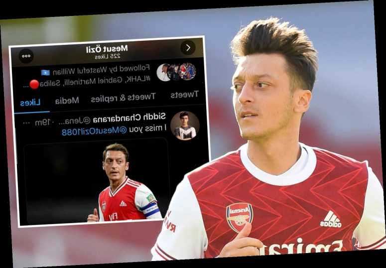 Mesut Ozil likes tweets asking to 'free' him during Arsenal's disastrous 3-0 defeat to Aston Villa