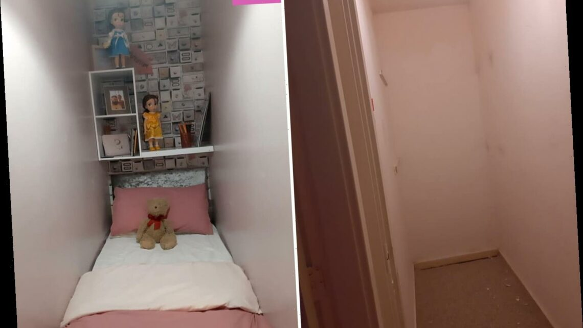 Woman turns small cupboard in her one-bed flat into a sleeping area for her stepdaughter using B&M & The Range bargains