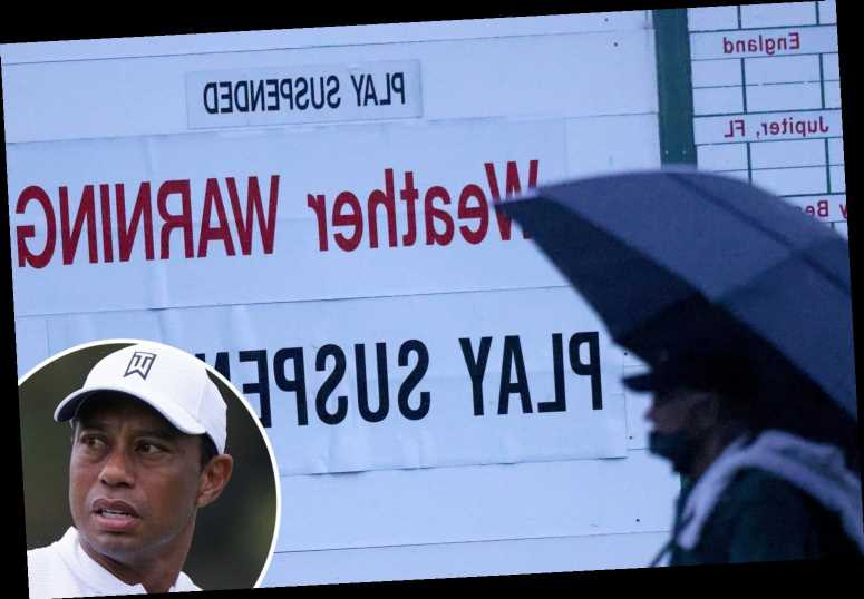 Masters delayed amid thunderstorm and flash flood warnings with Tiger Woods and Bryson DeChambeau made to wait