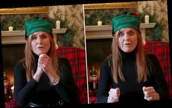 Santa's little helper! Sarah Ferguson dons an Elf hat in new clip