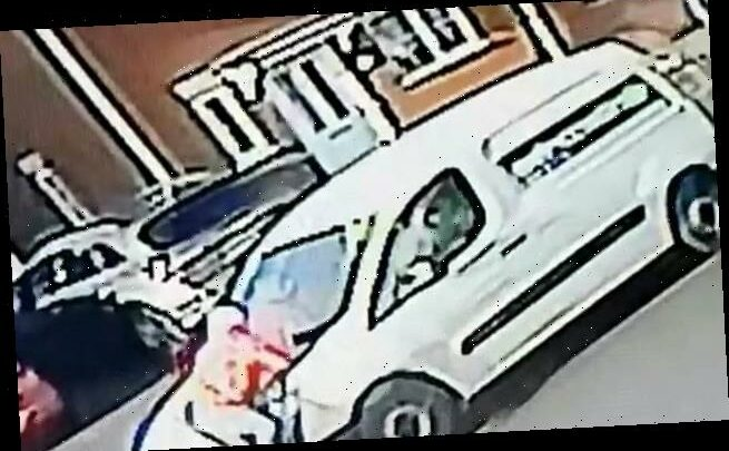 Shocking moment delivery driver clings to the bonnet of his van