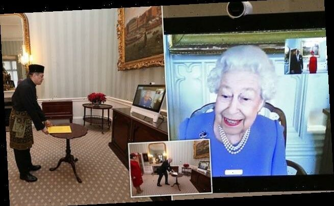 Beaming Queen greets foreign ambassadors in Buckingham Palace