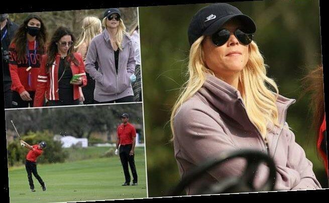 Tiger Woods' ex-wife Elin Nordegren watches son Charlie play golf