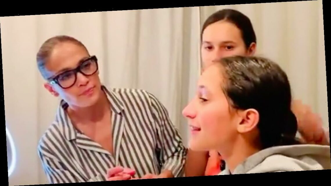 Jennifer Lopez Teaches Her and Alex Rodriguez's Daughters the Skin-Care Essentials in Sweet Video