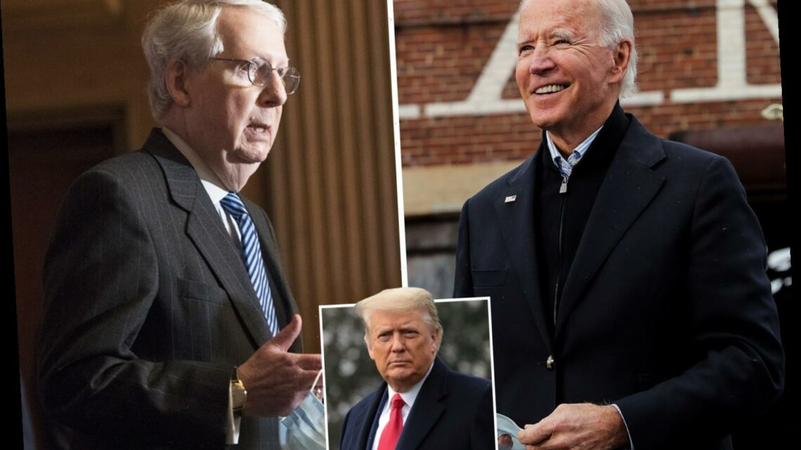 Mitch McConnell 'pleads with Republicans NOT to fight Biden's Electoral College win' as Trump continues to say he won