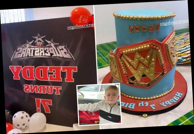 Inside Jacqueline Jossa's birthday celebrations for stepson Teddy, 7, with huge wrestling display and amazing cake