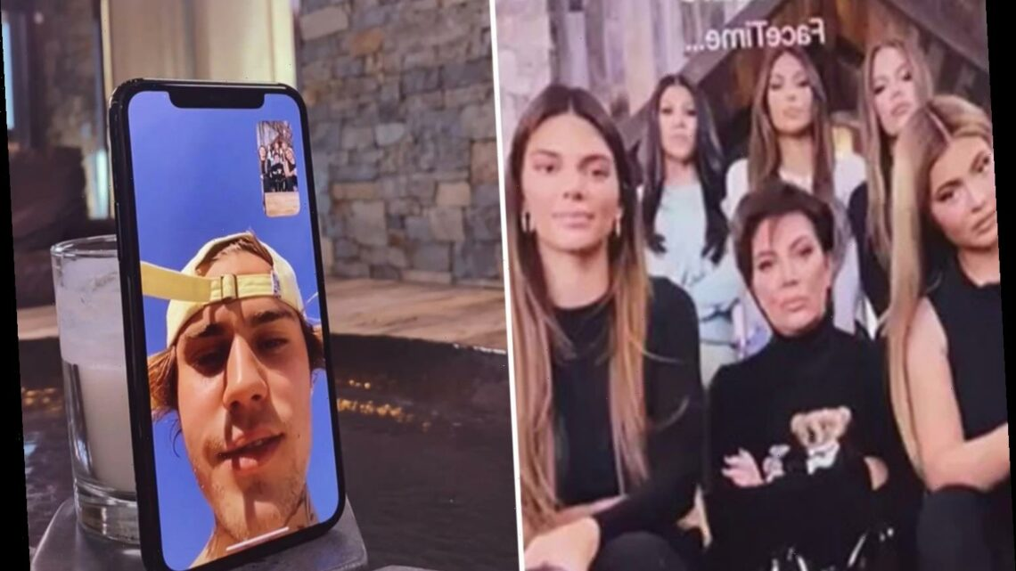 Kim Kardashian shares Kylie Jenner's clip of family surprising Justin Bieber, Tristan Thompson and others on FaceTime