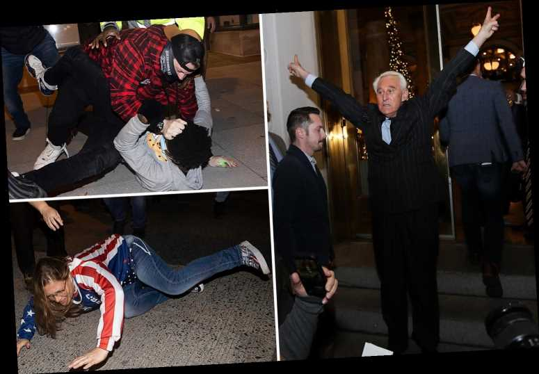 Trump fans and Proud Boys clash with BLM and Roger Stone joins protest as bid to overturn election is REJECTED