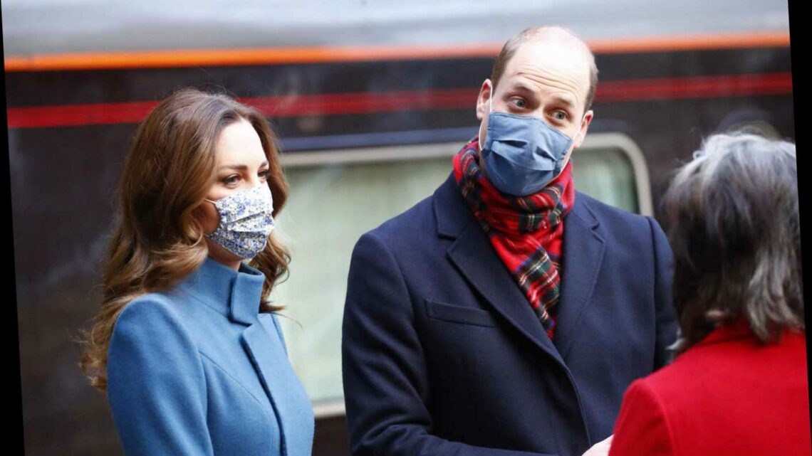 Kate Middleton and Prince William arrive for their first stop on Royal Train 'thank you' tour of Britain