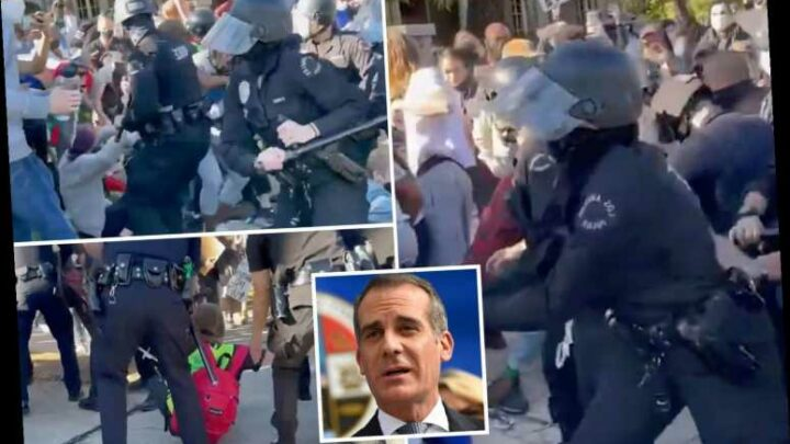 Black Lives Matter activists clash with cops outside LA mayor Garcetti's home in violent scenes