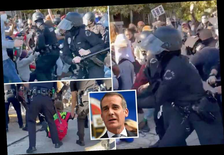 Black Lives Matter activists clash with cops outside LA mayor Garcetti's home in violent scenes