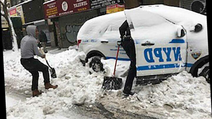 Good Samaritan helps traffic agent clear snow in NYC