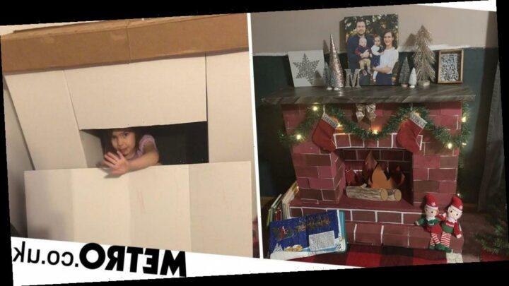 Mum makes DIY 'magic fireplace' to make sure Santa can deliver his presents