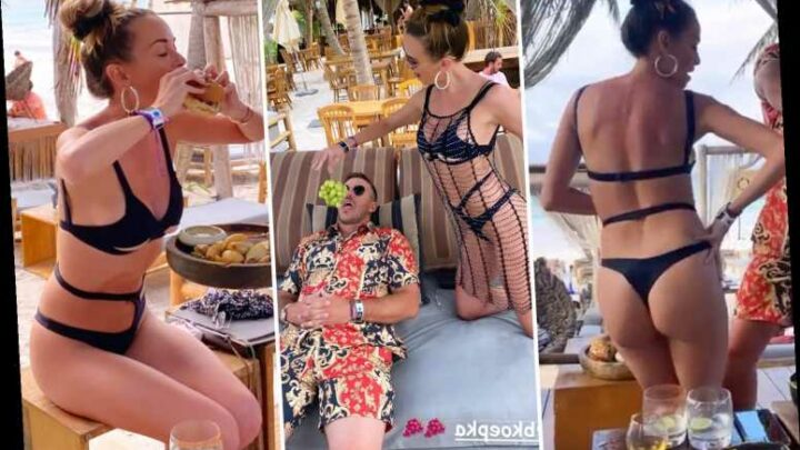 Brooks Koepka's stunning girlfriend Jena Sims shows off beach bum in bikini and feeds golfer grapes on Mexico holiday