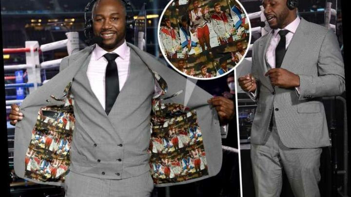 Lennox Lewis wears incredible suit lined with picture of himself clinching gold at 1984 Olympics for Errol Spence fight