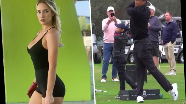 Paige Spiranac says 'this is wild' as video surfaces of Tiger Woods and 11-year-old son Charlie's identical swings