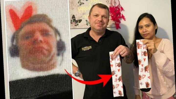 Hubby bought wife socks with his face on but found another man's mug on them
