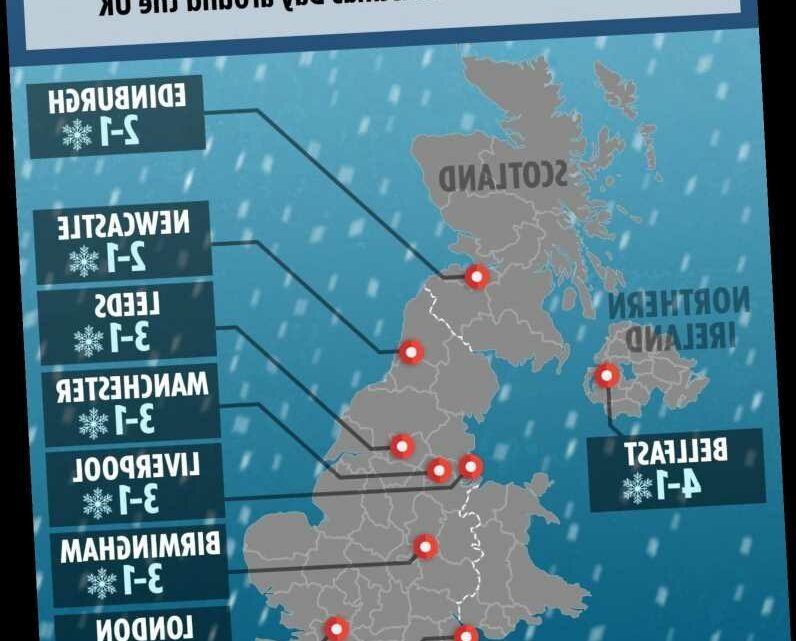 UK snow forecast – Map shows which areas could have White Christmas tomorrow