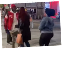 Raging woman batters 'cheating' boyfriend in the street in epic meltdown after busting him with another girl