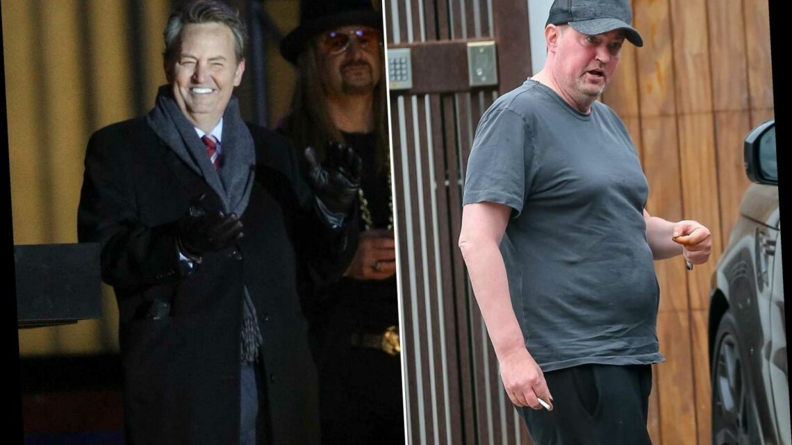 Matthew Perry appears healthy, happy on movie set after engagement