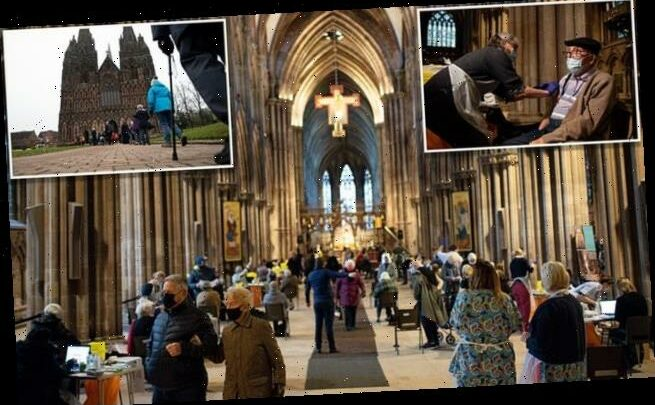 Lichfield Cathedral is transformed into a Covid jab station
