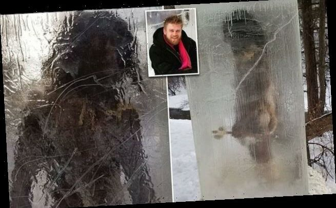 A caveman encased in ice has appeared in a Minneapolis park