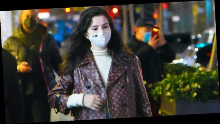 Selena Gomez's Logo-Covered Louis Vuitton Coat Is *Chef's Kiss*