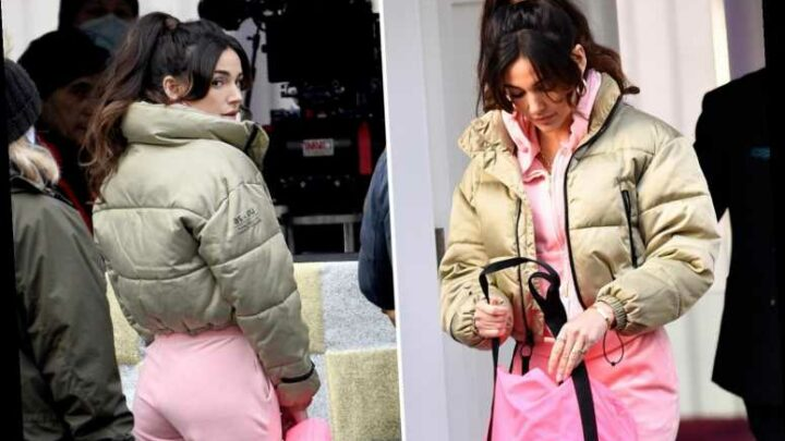 Michelle Keegan pretty in pink in a fluffy tracksuit as she returns to film Brassic after Covid shutdown