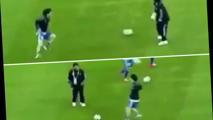 Watch Diego Maradona put Lionel Messi through his paces in rare footage of 2010 World Cup passing drill