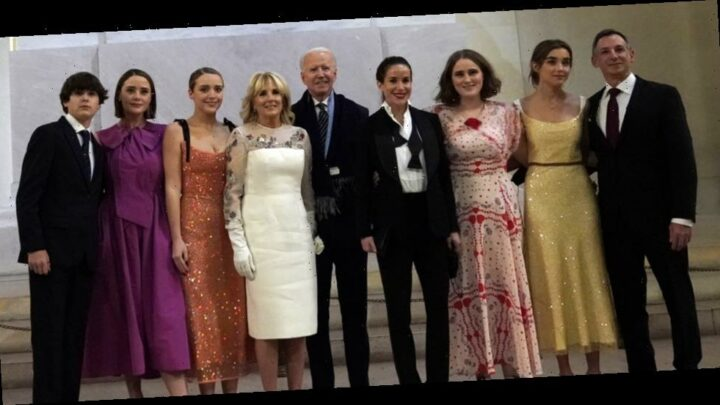 President Joe Biden & First Lady Jill Biden Pose For Family Photo With Children & Grandchildren On Inauguration Night