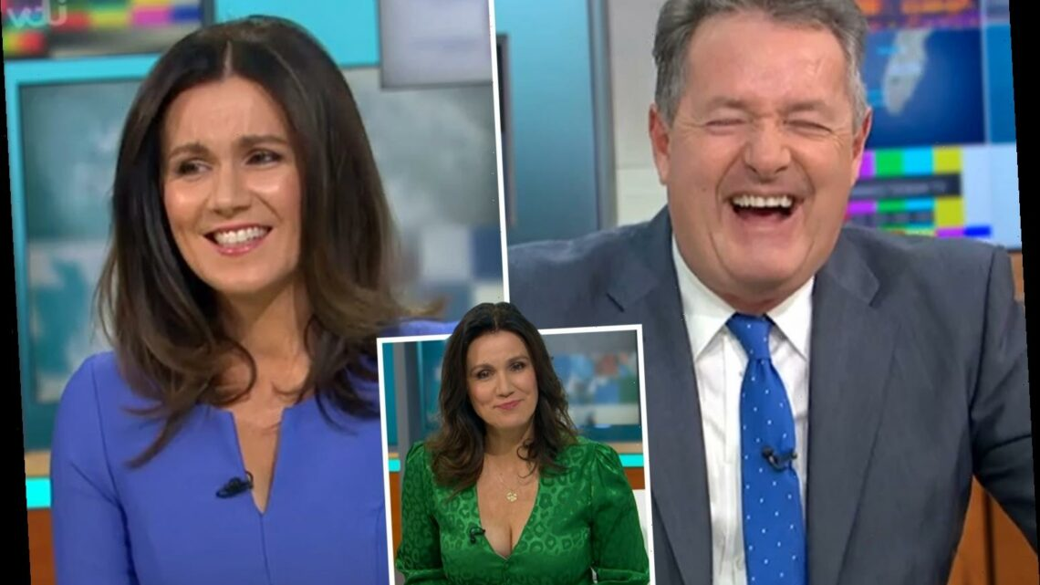 Piers Morgan teases GMB co-star Susanna Reid for sexy 'cleavage dress' – as he insists he didn't notice her boobs