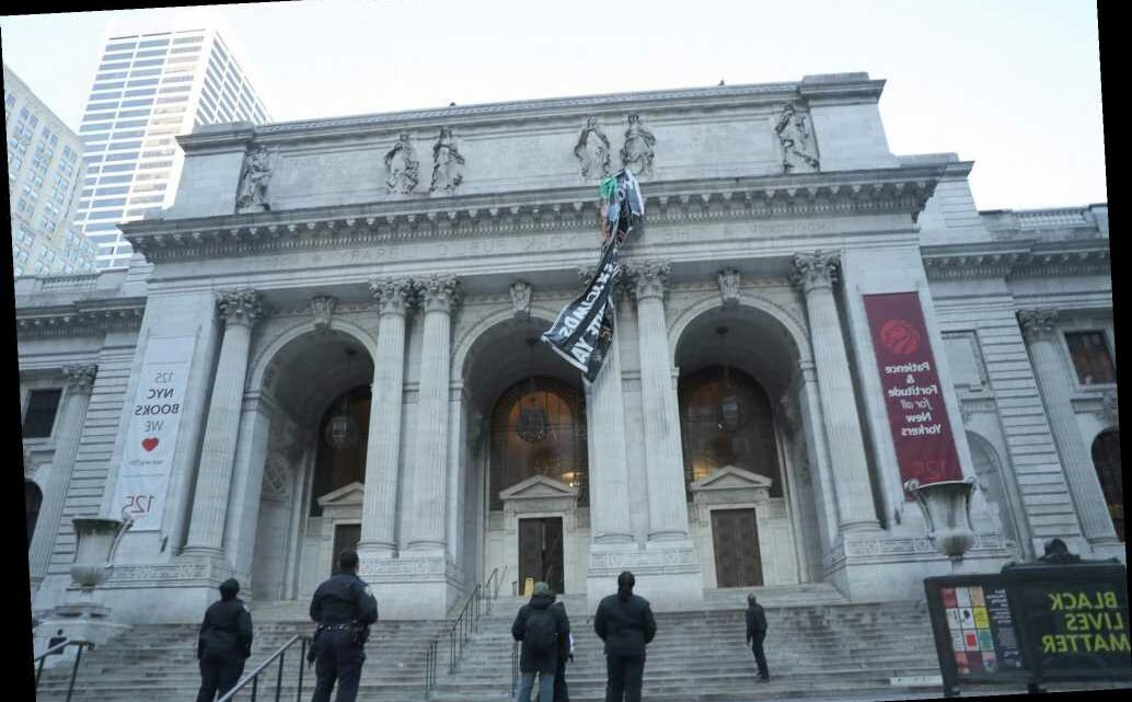 Cops remove 'Abolish ICE' banner from New York Public Library