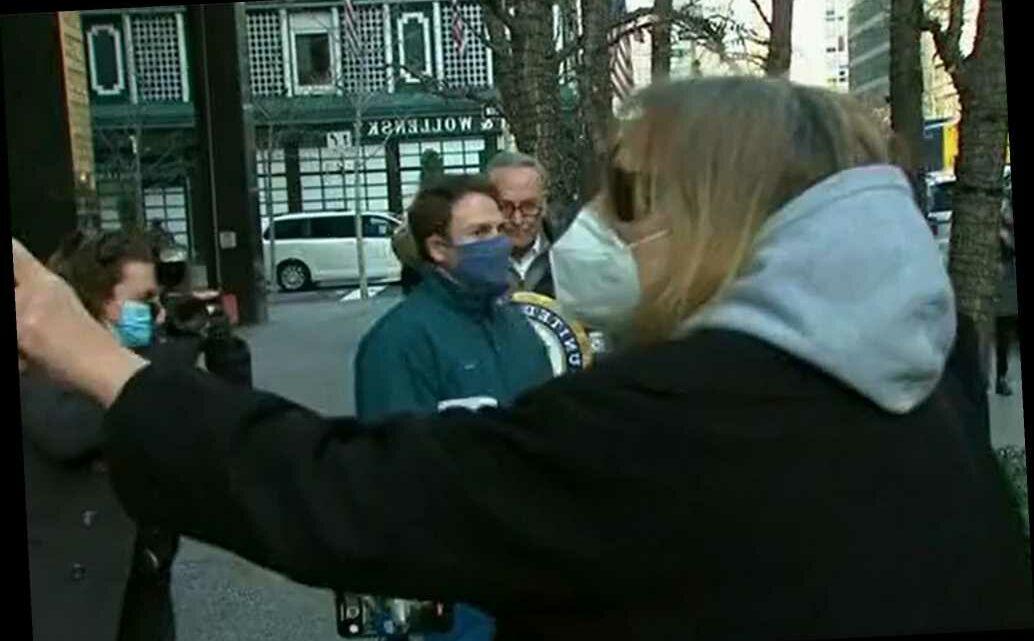 Unhinged heckler interrupts Chuck Schumer press conference