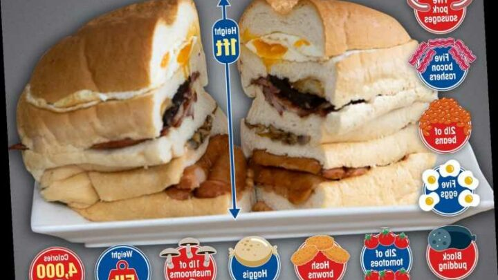 UK's biggest breakfast sandwich is 1ft tall, weighs 5lbs and packs 4,000 calories
