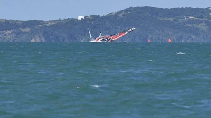 America's Cup 2021: Team New Zealand capsize in practice race