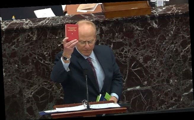 Trump's defense lawyer David Schoen brandishes Mao's little red book