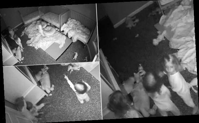Creepy moment two-year-old triplets scream and hide from a 'ghost'