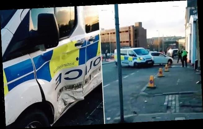 Shocking moment driver rams police van in Glasgow