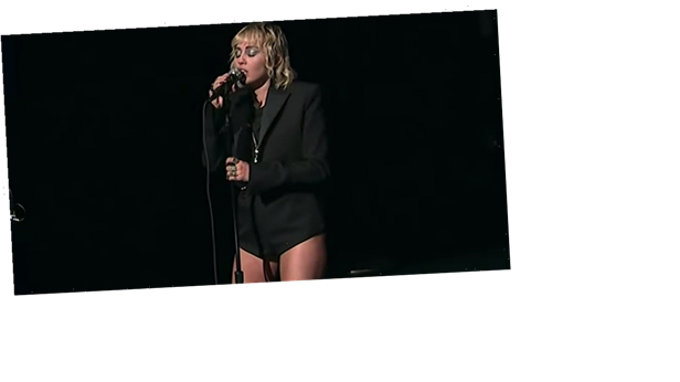 Miley Cyrus Performed at the Super Bowl Afterparty Wearing This Romper and Silver Body Chain