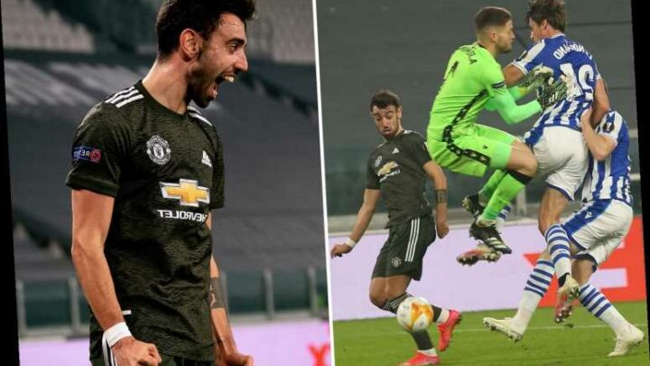 Watch Bruno Fernandes let THREE Sociedad players crash into each other before passing Man Utd opener into empty net