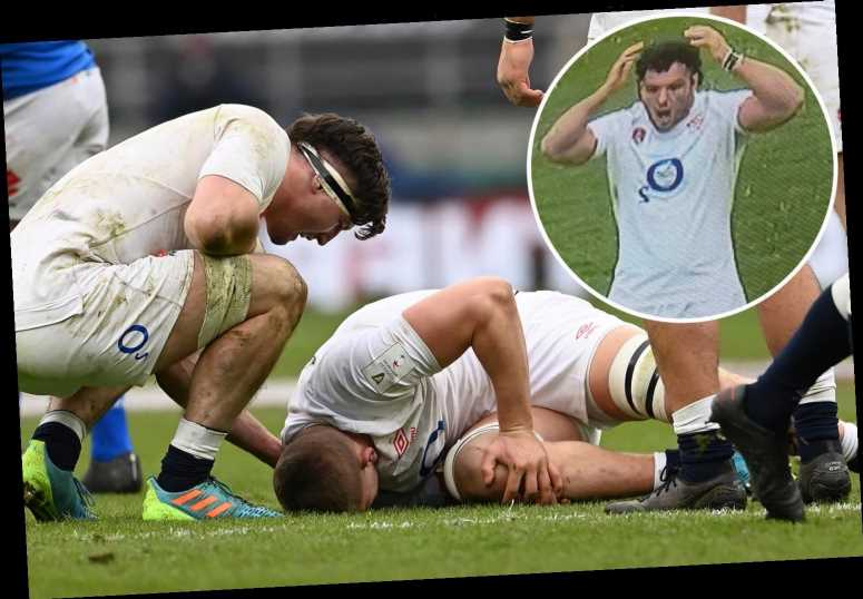 Jack Willis' horror injury sees England team-mate Ellis Genge look on in pure shock during Six Nations win over Italy