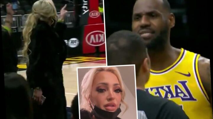 Watch LeBron James' X-rated on-court bust-up with fuming female fan who is kicked out of LA Lakers' win vs Atlanta Hawks