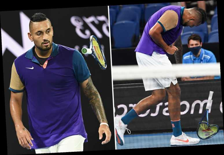 Furious Nick Kyrgios confronts female Australian Open umpire over let technology and smashes racket in blazing row