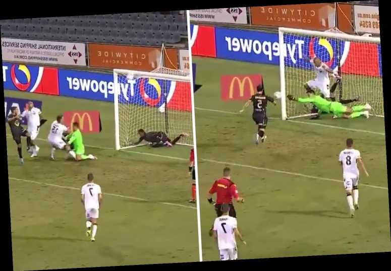 Watch incredible Fifa-style goalmouth scramble as Western Sydney Warriors somehow manage not to score in A League clash